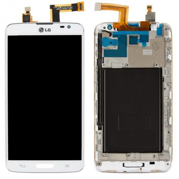 Дисплей (экран) для LG D682 G Pro Lite с сенсором (тачскрином) и рамкой белый Оригинал