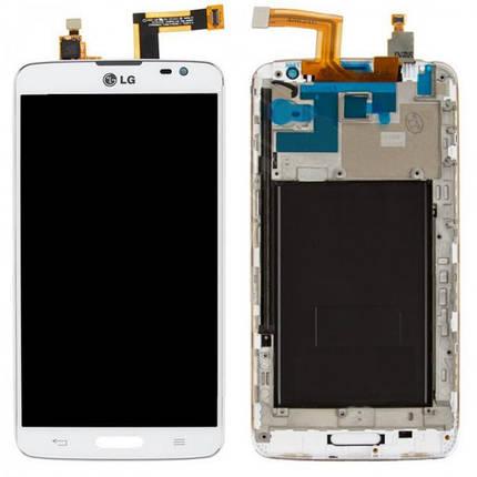 Дисплей (экран) для LG D682 G Pro Lite с сенсором (тачскрином) и рамкой белый Оригинал, фото 2