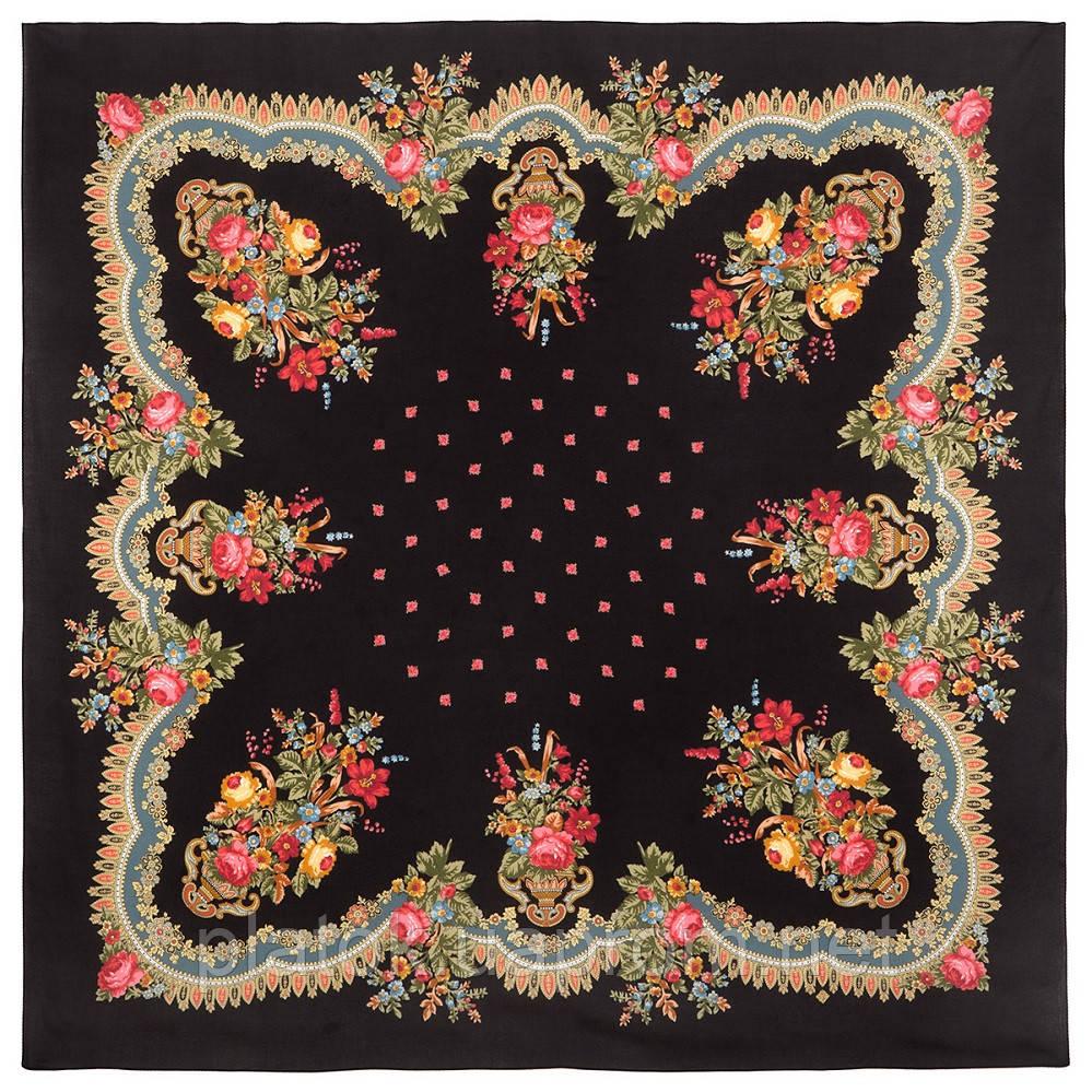10878-18 (Вечер в парке), павлопосадский платок из вискозы с подрубкой
