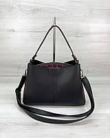 Молодежная сумка 57402 черная красные бока на три отделения через плечо, фото 1