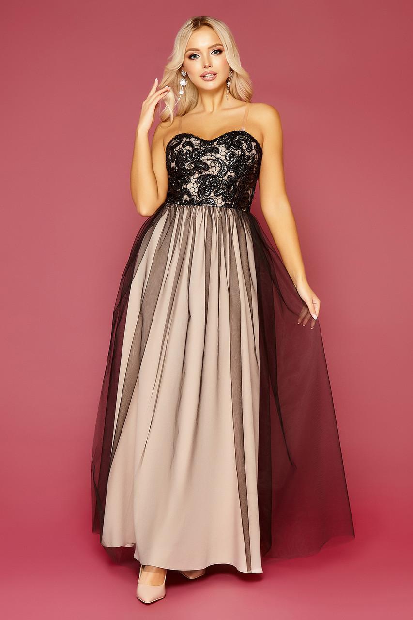 Вечірня сукня в пол з костюмки та сітки