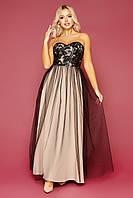 Вечірня сукня в пол з костюмки та сітки, фото 1