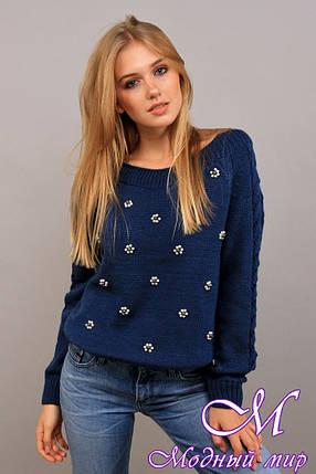 Вязаный женский свитер с жемчугом (ун. 44-48) арт. К-13-113, фото 2
