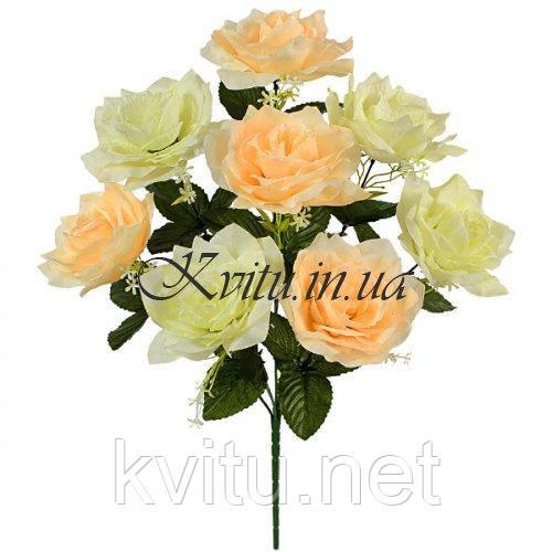 Искусственные цветы букет куст розы крупный, 55см