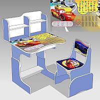 """Гр Парта шкільна ЛДСП ПШ 025 """"Тачки"""" (1) колір блакитний (парта + 1 стілець), 690 * 450"""