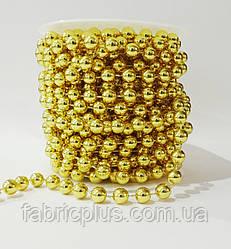 Новогодние бусы  8 мм золото (10 м)