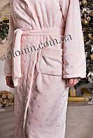 Женский длинный махровый халат с капюшоном (Шиншилла).