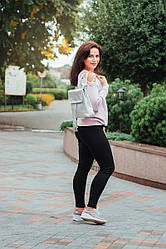 Женский кожаный рюкзак 03 серебристый флотар 02030111