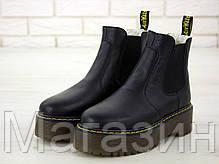 Зимние женские ботинки Dr. Martens 2976 Platform Chelsea Winter Black Доктор Мартинс Челси черные С МЕХОМ, фото 2