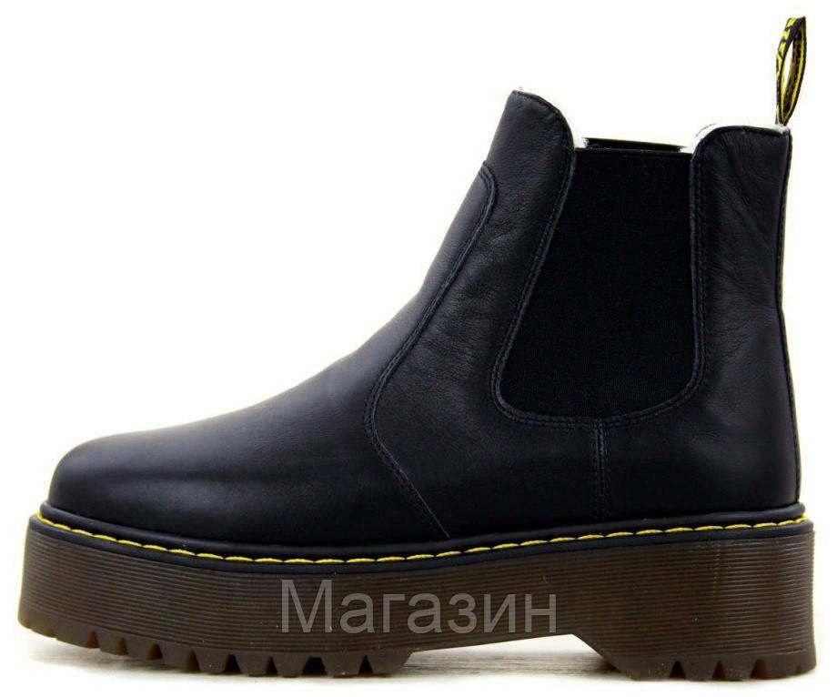 Зимние женские ботинки Dr. Martens 2976 Platform Chelsea Winter Black Доктор Мартинс Челси черные С МЕХОМ