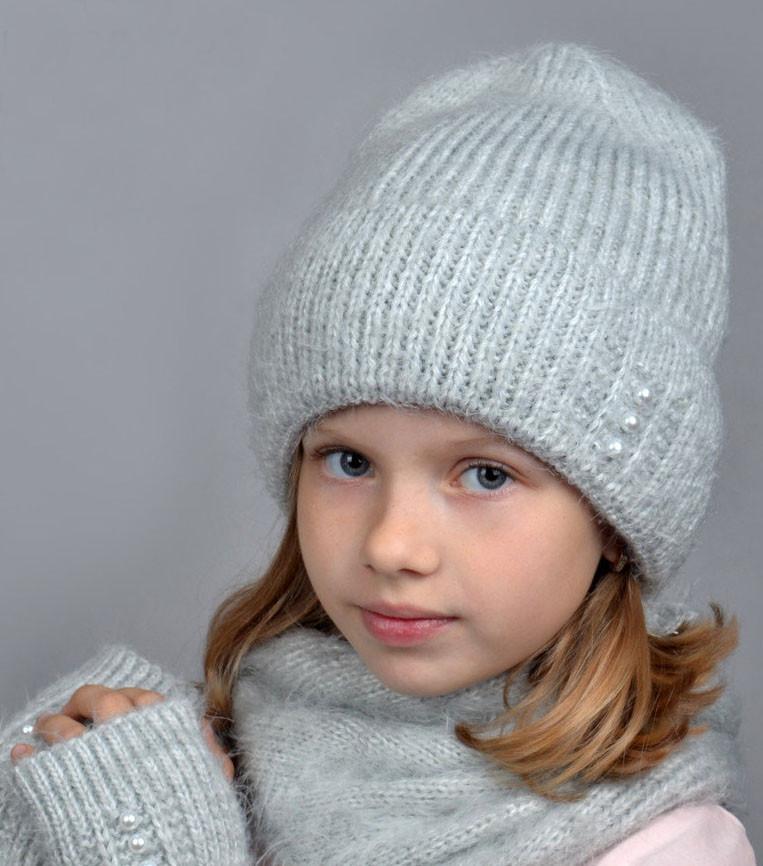 Зимняя шапка для девочки Эмили, св.серый (ОГ 55-58)