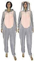 Пижама кигуруми женская махровая (комбинезон) с ушками 18063 Зайчик серо-розовый