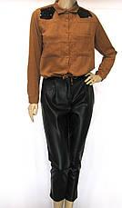 Жіноча коротка вельветова сорочка гірчичного кольору, фото 3