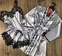 РАЗНЫЕ ЦВЕТА! Комплект халат и пижама с шортиками, одежда для дома