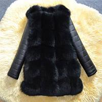 Меховая жилетка с рукавами черная