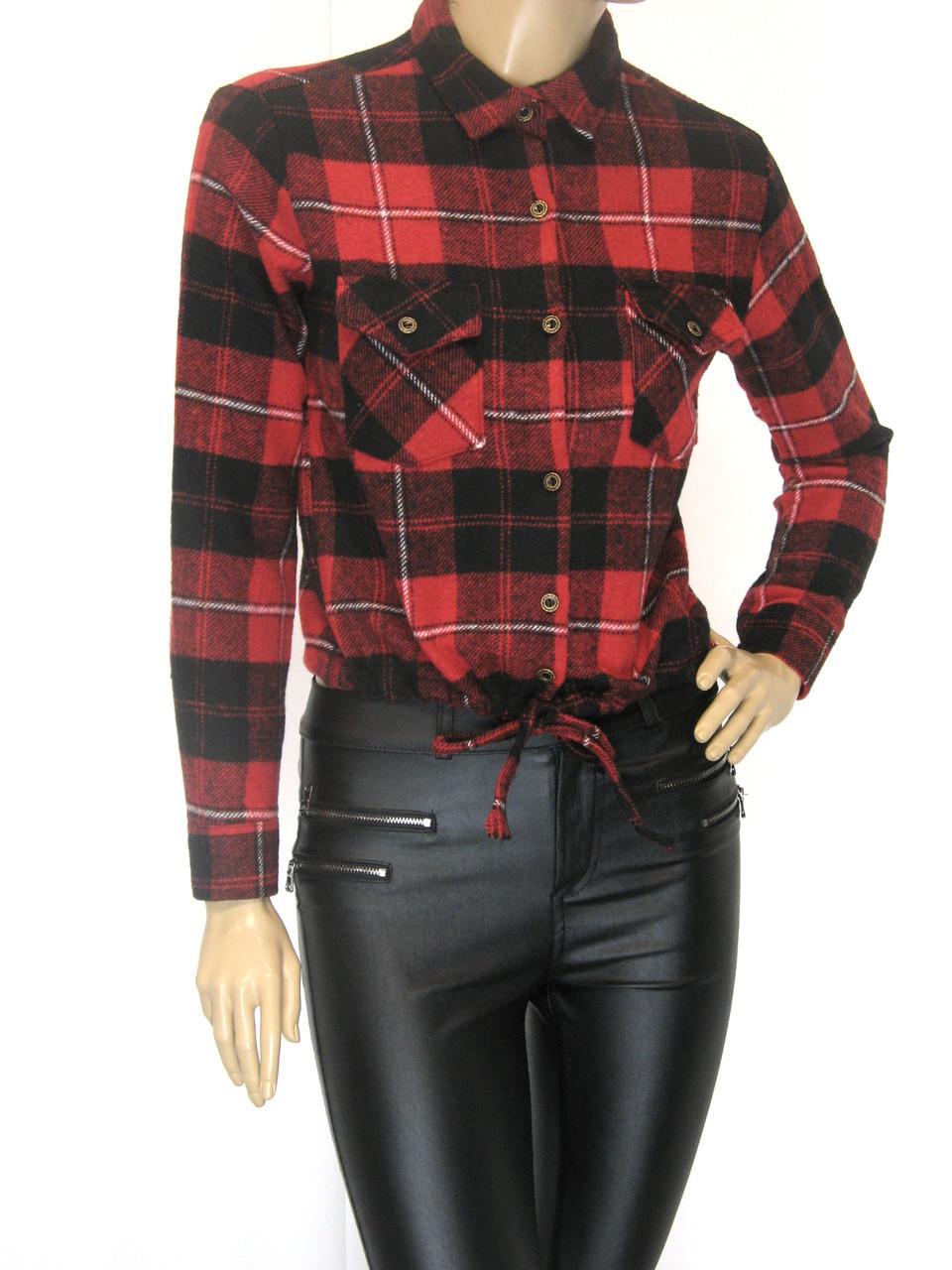 Жіноча коротка  сорочка в клітку