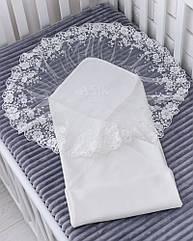 Нарядная двойная пелёнка из сатина с широким кружевом белого цвета, 80*80 см