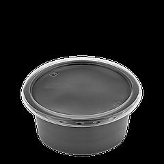 Супник с крышкой черный 350 мл для холод/гор.блюд 115К (разогрев в СВЧ),(50 шт в уп.)