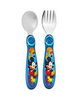 Детские столовые приборы Disney вилка ложка Микки Маус для кормления малышей 9+ отличный подарок