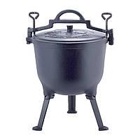 Казан чугунный 10л с крышкой Kamille на ножках для приготовления пищи на огне и плите