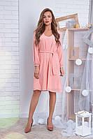 """Милое шифоновое платье """"Рута"""" с поясом и длинным рукавом (4 цвета)"""