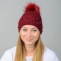Вязаная женская шапка Nord с меховым помпоном Бордо wpnfibi10, КОД: 388207