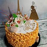 Топпер девушка с эйфелевой башней, золотая эйфелевая башня, фигурки на торт с блестками, ейфелева вежа на торт, фото 4