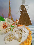 Топпер девушка с эйфелевой башней, золотая эйфелевая башня, фигурки на торт с блестками, ейфелева вежа на торт, фото 5