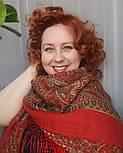 Таинственный вечер 1539-5, павлопосадский платок (шаль) из уплотненной шерсти с шелковой вязанной бахромой, фото 4