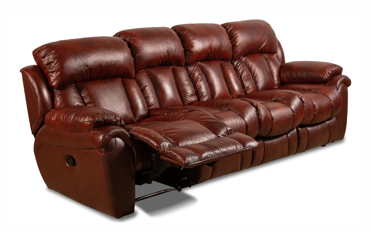Четырехместный кожаный диван Бостон (раскладной + 1 реклайнер)