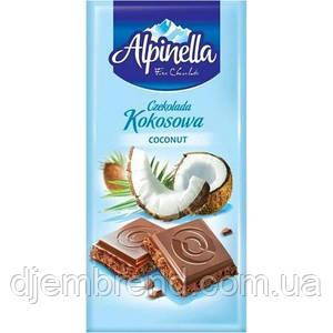 """Шоколад """"Alpinella kokosowa"""" (Альпинелла молочный с кокосом), Польша, 100г"""