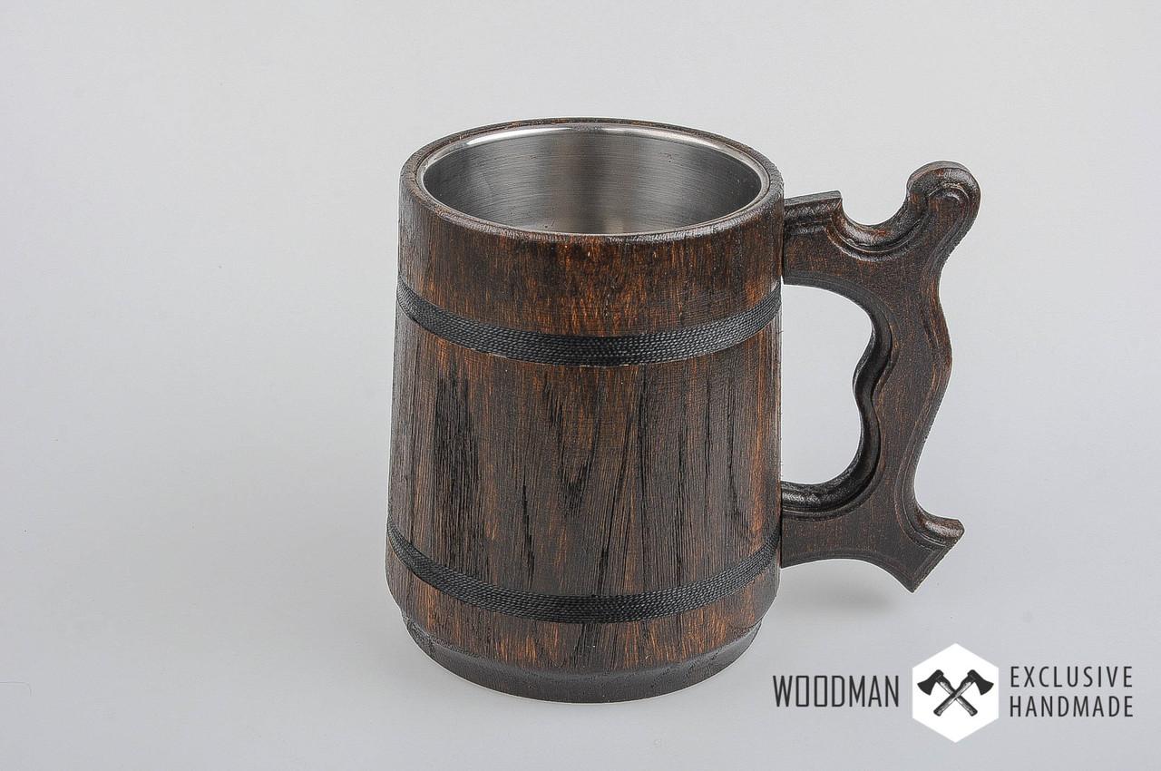Деревянная пивная кружка, деревянный бокал темный, дубовый пивной бокал, фото 1