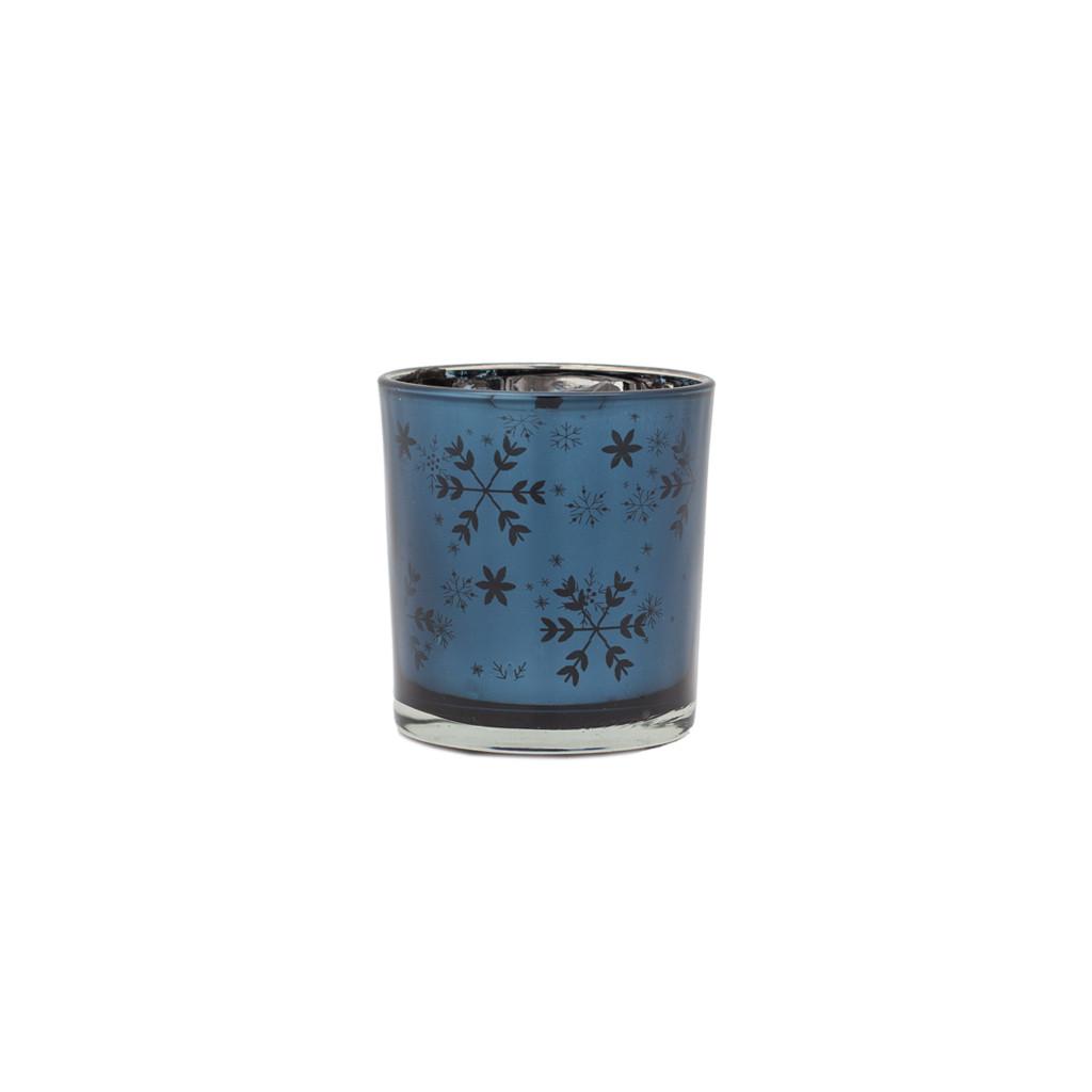 Подсвечник стекло синий Снежинки 8 см 109342