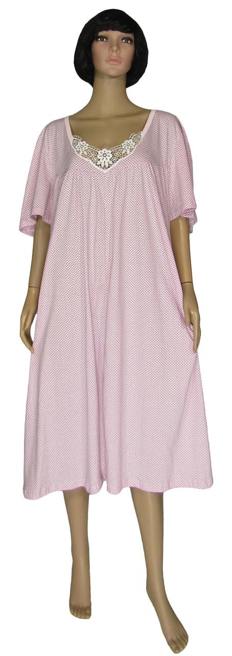 Ночная рубашка женская с кружевом 03264 Аппликация Батал светло-розовая 66-68