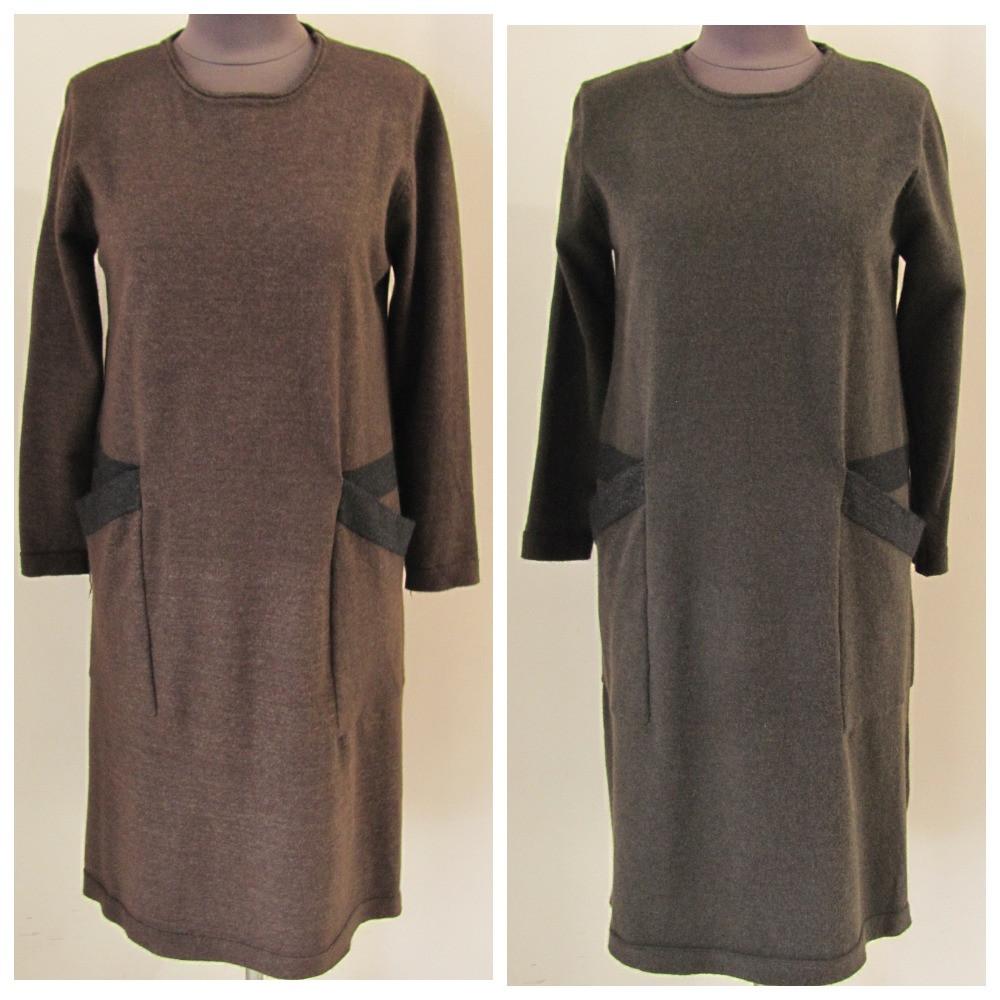 Теплое платье больших размеров с двумя карманами, р.УН (батал)  код 2510М