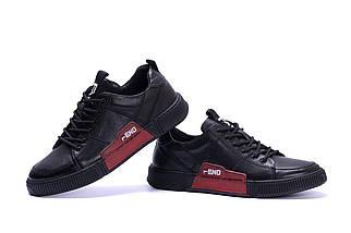 Мужские кожаные кроссовки в стиле Fend Stay Real Black черные, фото 3