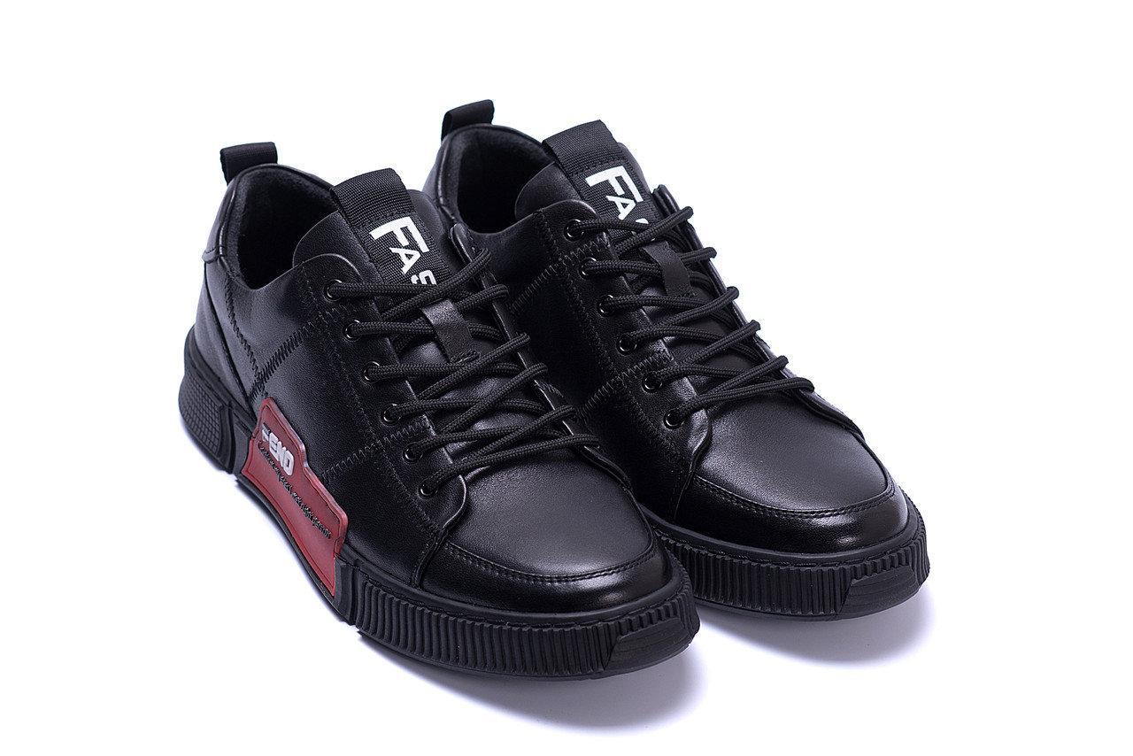 Мужские кожаные кроссовки в стиле Fend Stay Real Black черные