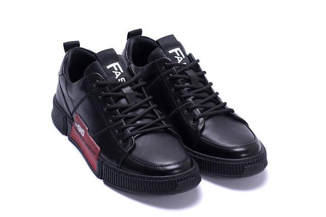 Мужские кожаные кроссовки в стиле Fend Stay Real Black черные, фото 2