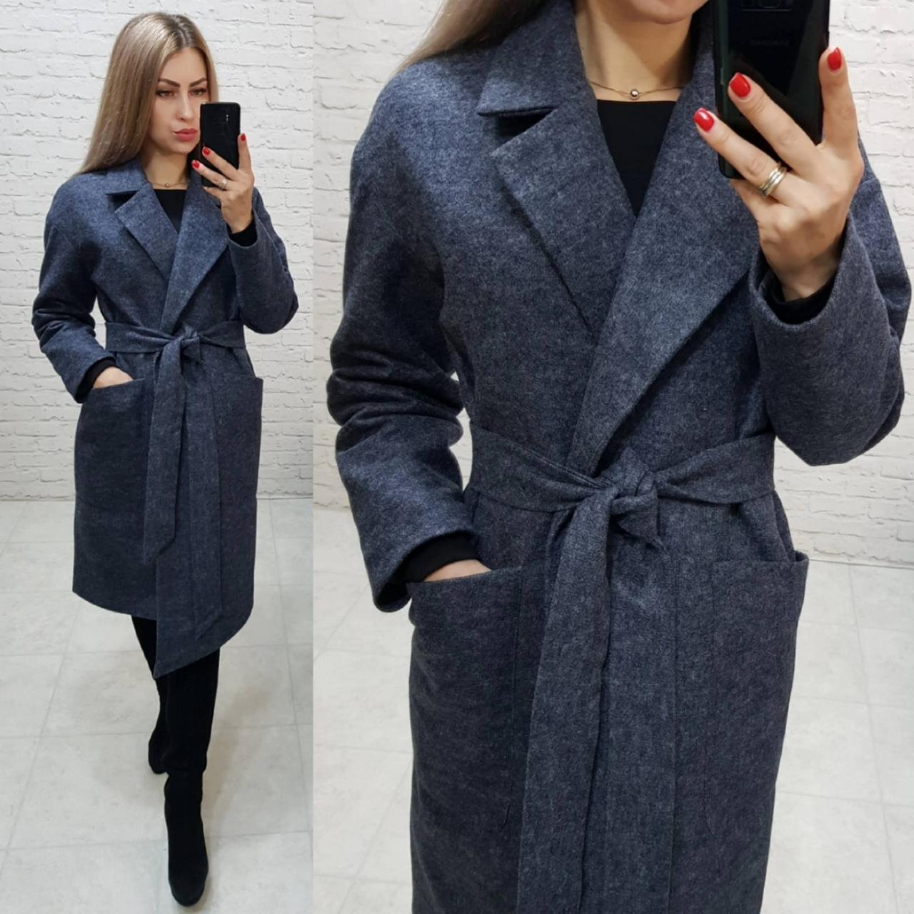 Кашемірове пальто утеплене на запах з кишенями,арт 175, колір чорний з сірим (5)