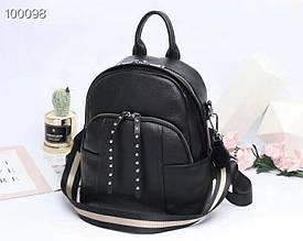 Рюкзак карманы спереди + застежка с висюлями / натуральная кожа арт. кт-2840 Черный