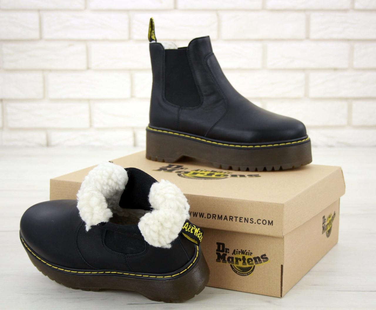 Женские ботинки Dr.Martens BlackPlatform Chelsea кожа, ЗИМА черные. ТОП Реплика ААА класса.