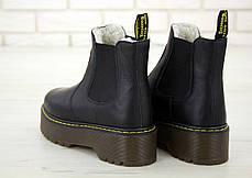 Женские ботинки Dr.Martens BlackPlatform Chelsea кожа, ЗИМА черные. ТОП Реплика ААА класса., фото 2