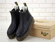 Женские ботинки Dr.Martens BlackPlatform Chelsea кожа, ЗИМА черные. ТОП Реплика ААА класса., фото 3