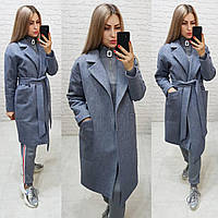 Утеплённое кашемировое пальто на запах с карманами,арт 175, цвет серый меланж (7)