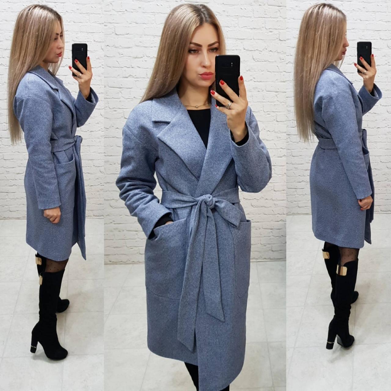 Кашемірове пальто утеплене на запах з кишенями,арт 175, колір сірий маренго (9)