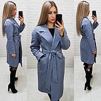 Кашемірове пальто утеплене на запах з кишенями,арт 175, колір сірий маренго (9), фото 1