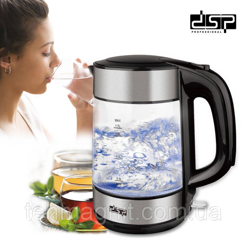 Чайник стеклянный  DSP KK1119  электрочайник  1850W 1.7L с подсветкой