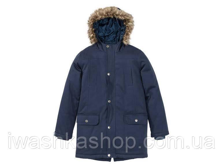 Водоотталкивающая темно-синяя куртка-парка на мальчика 10 - 11 лет, р. 146, Pepperts / Lidl