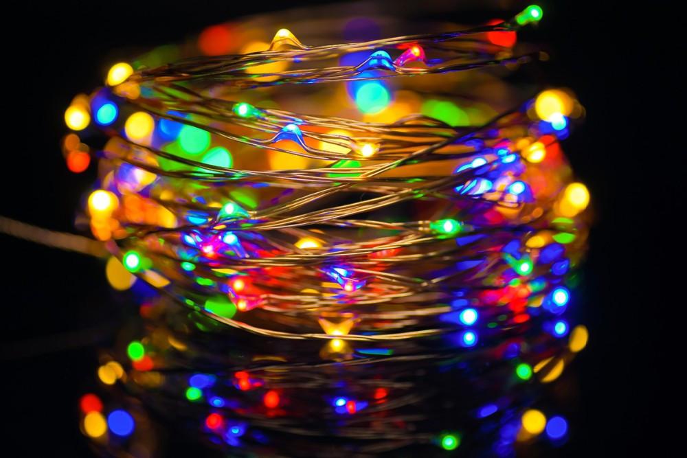"""Гирлянда """"Роса"""" Светодиодная Нить 10 м 100 LED разноцветная RGB на батарейках ОПТ"""