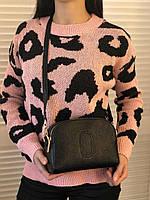 Женский джемпер мягкий с черно-розовым узором, опт